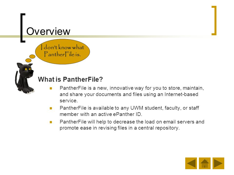 Benefits of Using PantherFile Next time why don't you download your files on PantherFile.