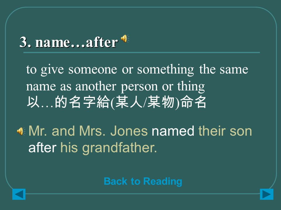 3. name…after Mr. and Mrs. Jones named their son after his grandfather.