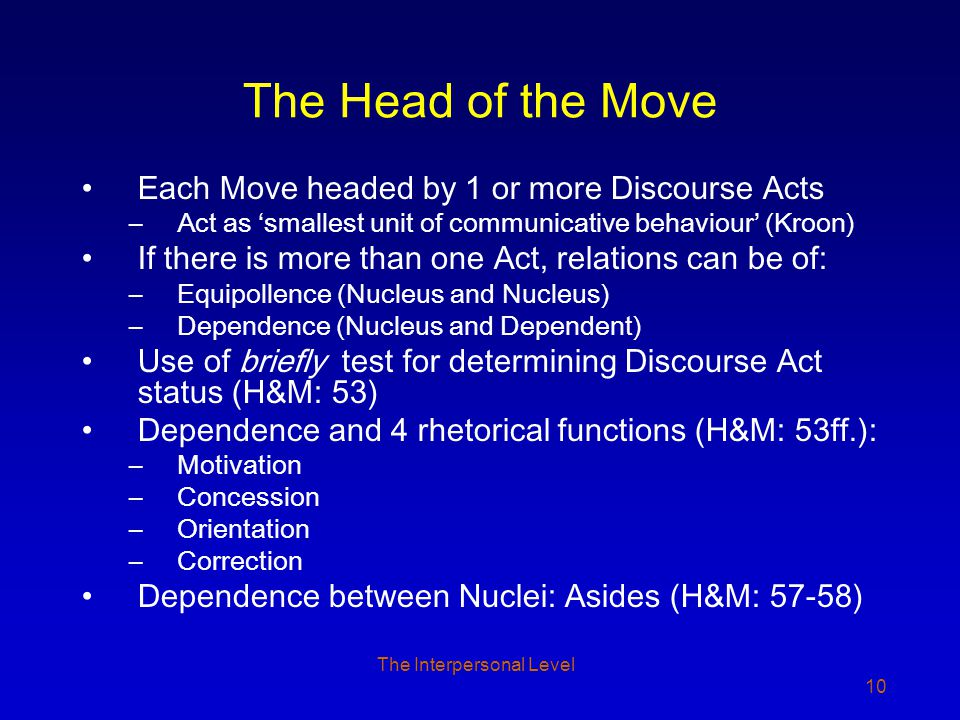 The Interpersonal Level 10 The Head of the Move Each Move headed by 1 or more Discourse Acts –Act as 'smallest unit of communicative behaviour' (Kroon) If there is more than one Act, relations can be of: –Equipollence (Nucleus and Nucleus) –Dependence (Nucleus and Dependent) Use of briefly test for determining Discourse Act status (H&M: 53) Dependence and 4 rhetorical functions (H&M: 53ff.): –Motivation –Concession –Orientation –Correction Dependence between Nuclei: Asides (H&M: 57-58)