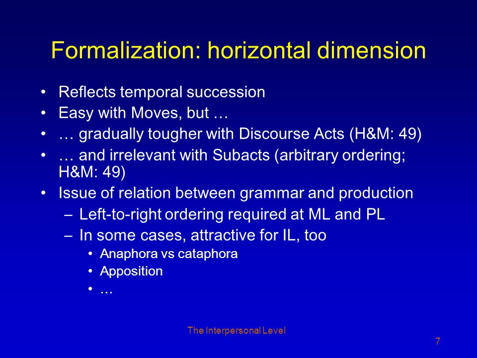 The Interpersonal Level 28 Communicated Content: Subacts Two types of Subact (two forms of evocation): –Ascriptive (T 1 ) –Referential (R 1 ) Minimally one Subact per C Subacts may carry pragmatic functions –the possible arrays of pragmatic functions are primitives known as 'content frames' FDG recognizes three dimensions for these functions –Focus—Background –Topic—Comment –Contrast—Overlap