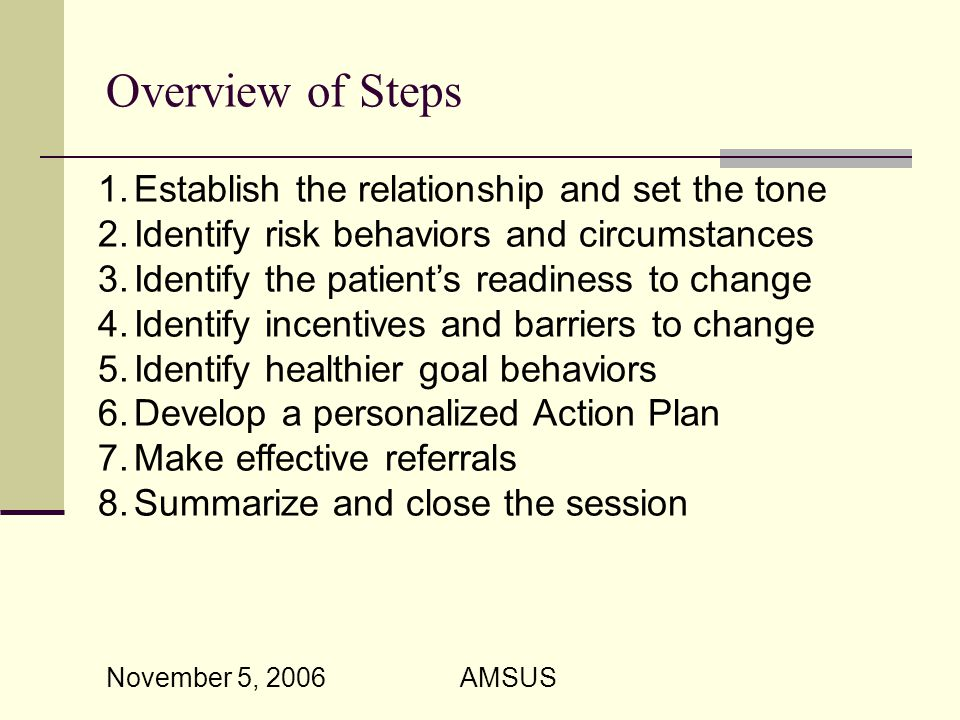 November 5, 2006 AMSUS Overview of Steps 1.Establish the relationship and set the tone 2.Identify risk behaviors and circumstances 3.Identify the patient's readiness to change 4.Identify incentives and barriers to change 5.Identify healthier goal behaviors 6.Develop a personalized Action Plan 7.Make effective referrals 8.Summarize and close the session