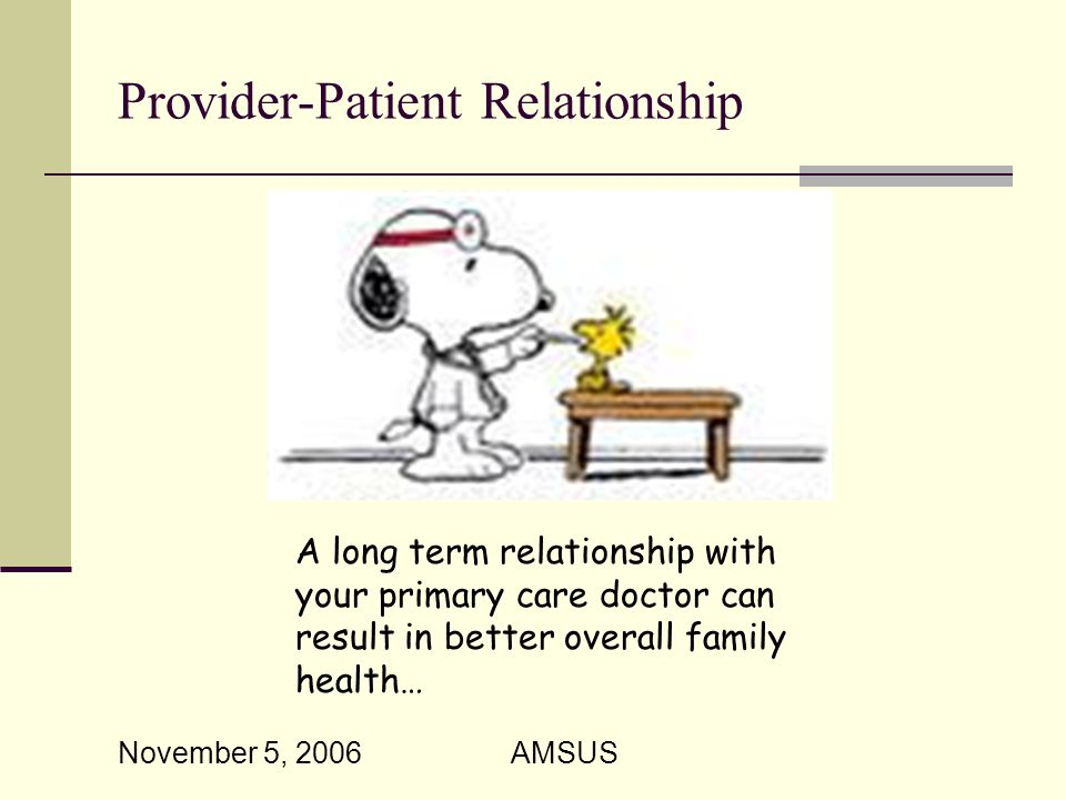 November 5, 2006 AMSUS Provider-Patient Relationship A long term relationship with your primary care doctor can result in better overall family health…
