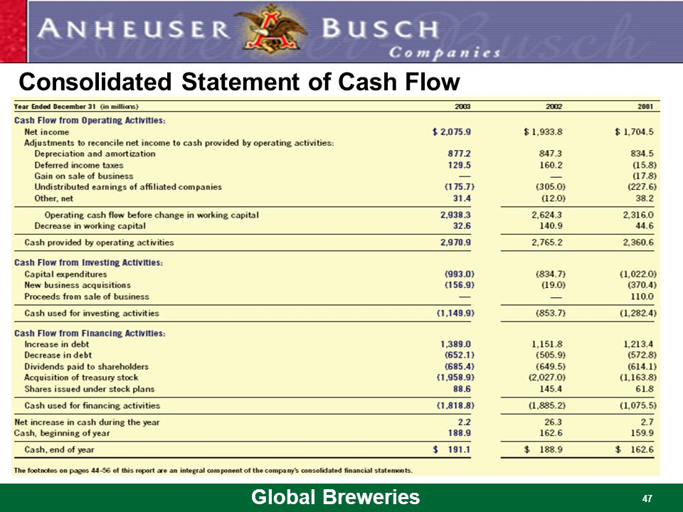 Global Breweries 47 Consolidated Statement of Cash Flow