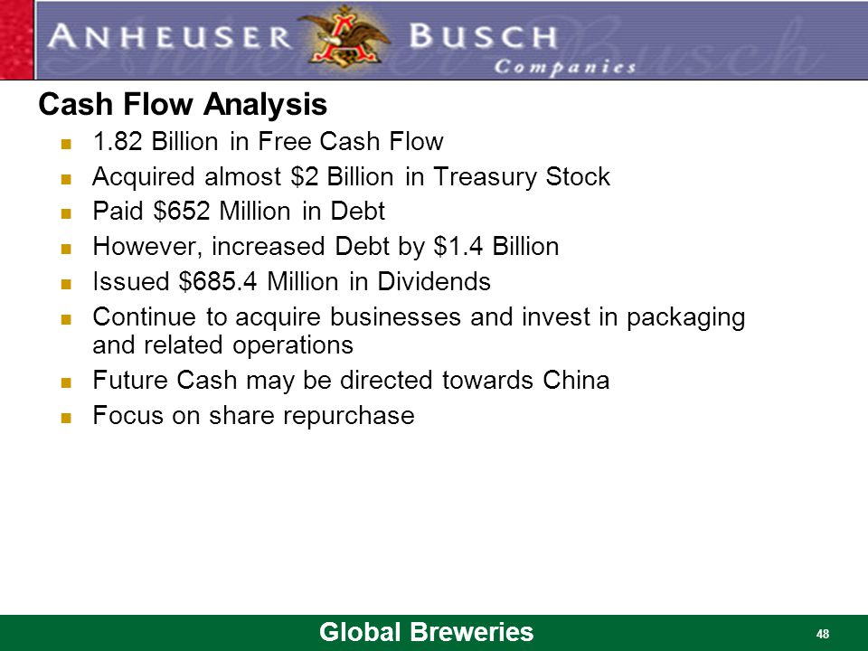 Global Breweries 48 Cash Flow Analysis 1.82 Billion in Free Cash Flow Acquired almost $2 Billion in Treasury Stock Paid $652 Million in Debt However,