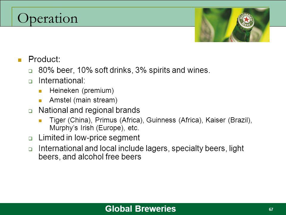 Global Breweries 67 Operation Product:  80% beer, 10% soft drinks, 3% spirits and wines.  International: Heineken (premium) Amstel (main stream)  N