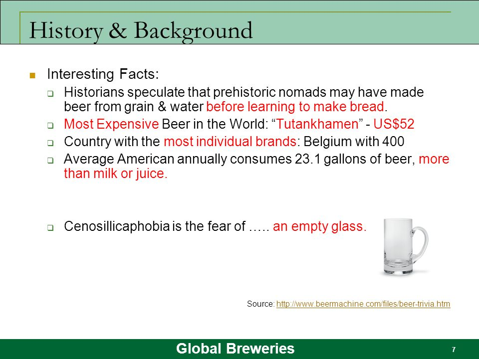 Global Breweries 7 History & Background Interesting Facts:  Historians speculate that prehistoric nomads may have made beer from grain & water before