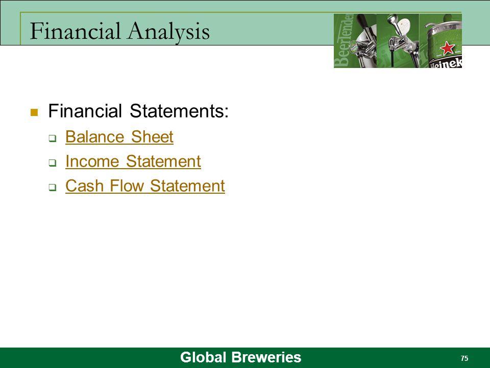 Global Breweries 75 Financial Analysis Financial Statements:  Balance Sheet Balance Sheet  Income Statement Income Statement  Cash Flow Statement C