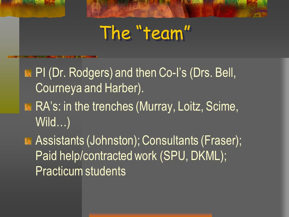 The team PI (Dr. Rodgers) and then Co-I's (Drs.