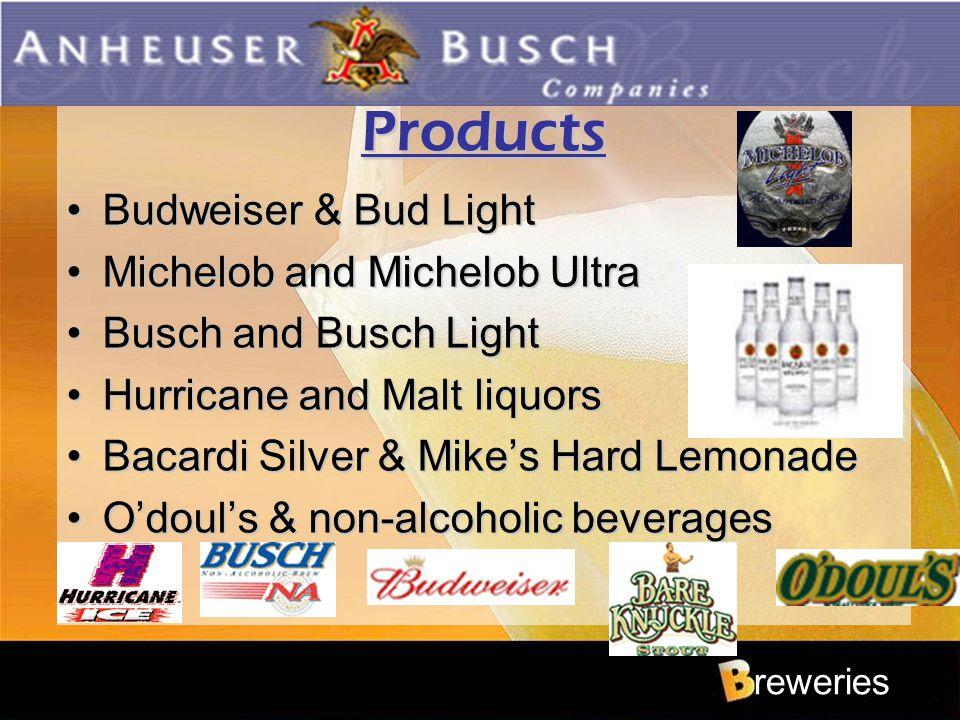 reweries Products Budweiser & Bud LightBudweiser & Bud Light Michelob and Michelob UltraMichelob and Michelob Ultra Busch and Busch LightBusch and Bus