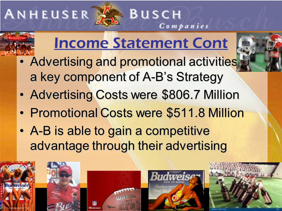reweries Income Statement Cont Advertising and promotional activities are a key component of A-B's StrategyAdvertising and promotional activities are