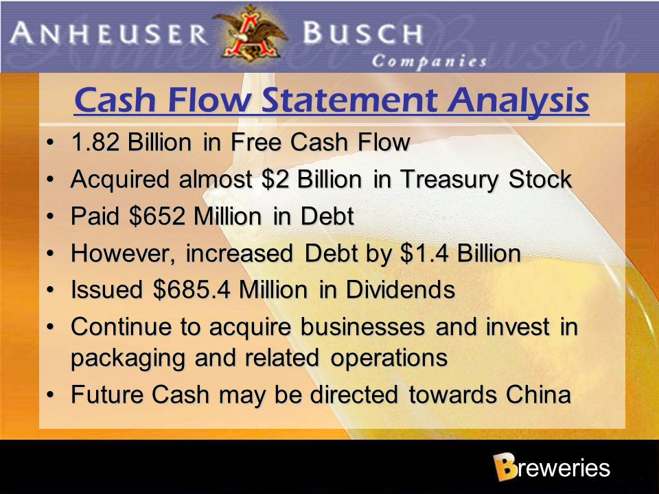 Cash Flow Statement Analysis 1.82 Billion in Free Cash Flow1.82 Billion in Free Cash Flow Acquired almost $2 Billion in Treasury StockAcquired almost