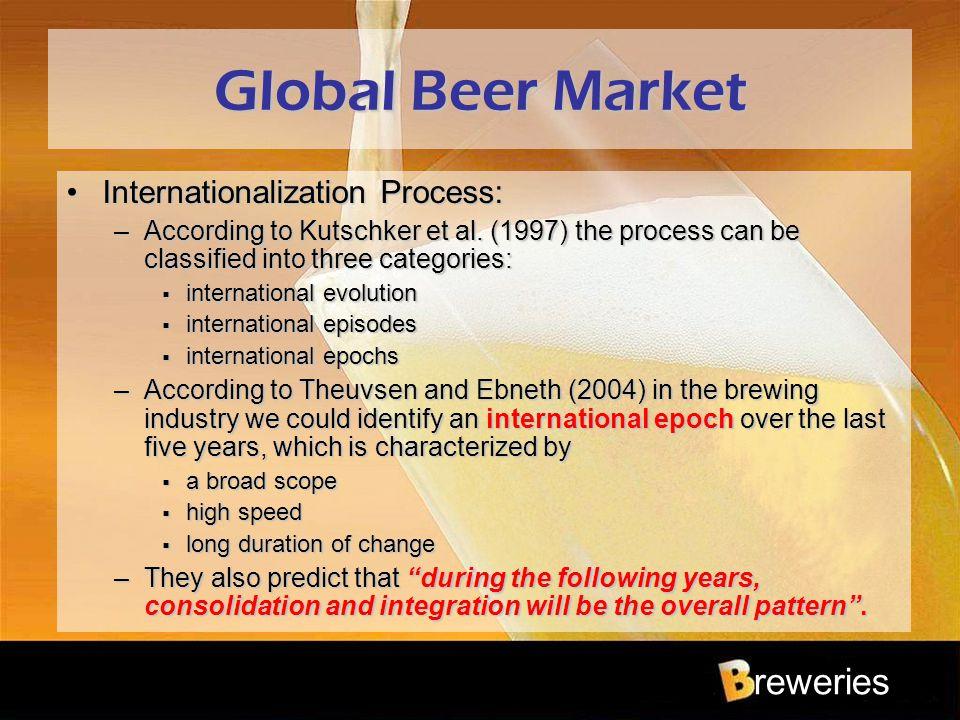 reweries Global Beer Market Internationalization Process:Internationalization Process: –According to Kutschker et al. (1997) the process can be classi