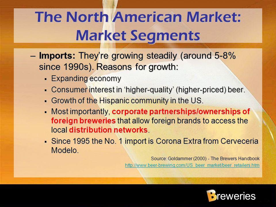 reweries The North American Market: Market Segments –Imports: They're growing steadily (around 5-8% since 1990s). Reasons for growth:  Expanding econ