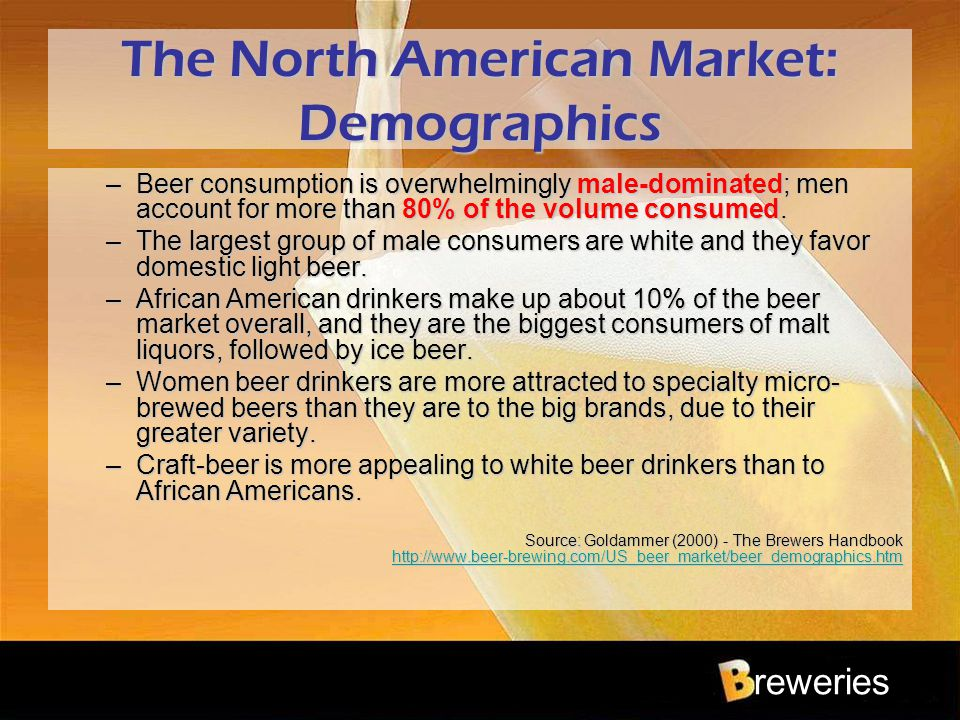 reweries The North American Market: Demographics –Beer consumption is overwhelmingly male-dominated; men account for more than 80% of the volume consu