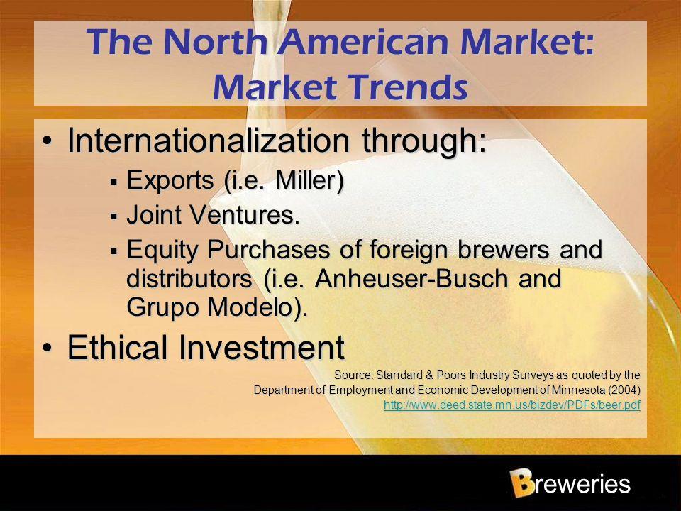 reweries The North American Market: Market Trends Internationalization through:Internationalization through:  Exports (i.e. Miller)  Joint Ventures.