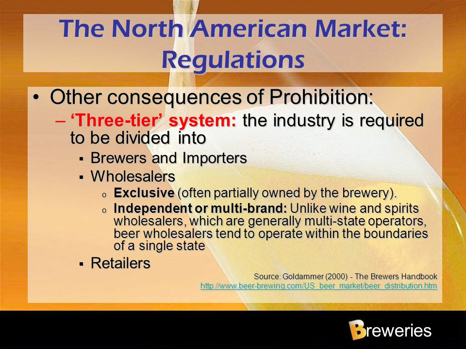 reweries The North American Market: Regulations Other consequences of Prohibition:Other consequences of Prohibition: –'Three-tier' system: the industr