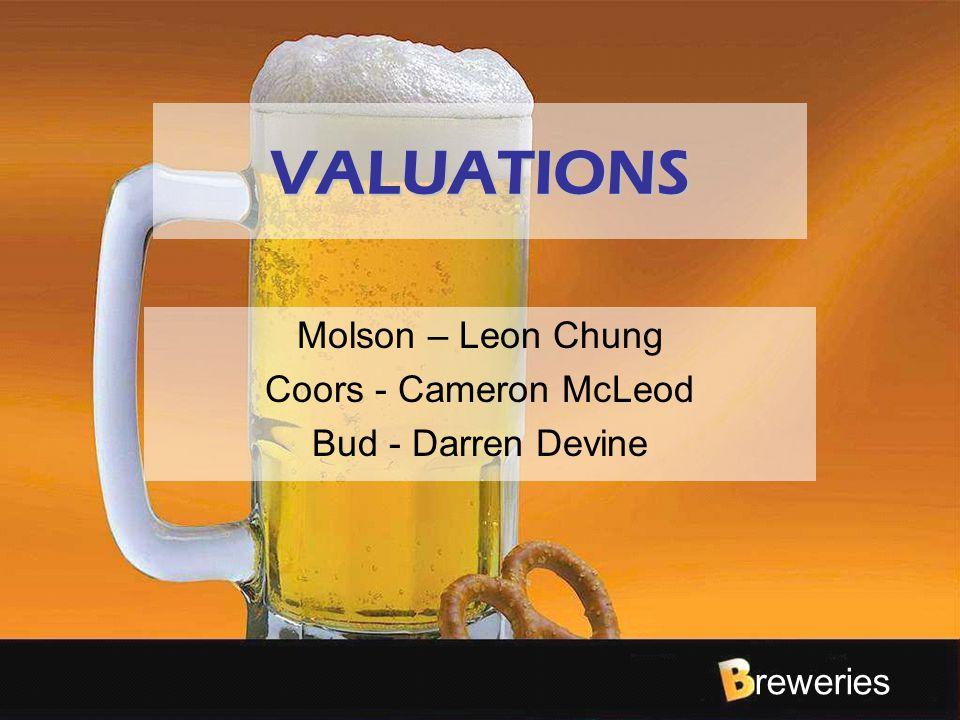 reweries VALUATIONS Molson – Leon Chung Coors - Cameron McLeod Bud - Darren Devine