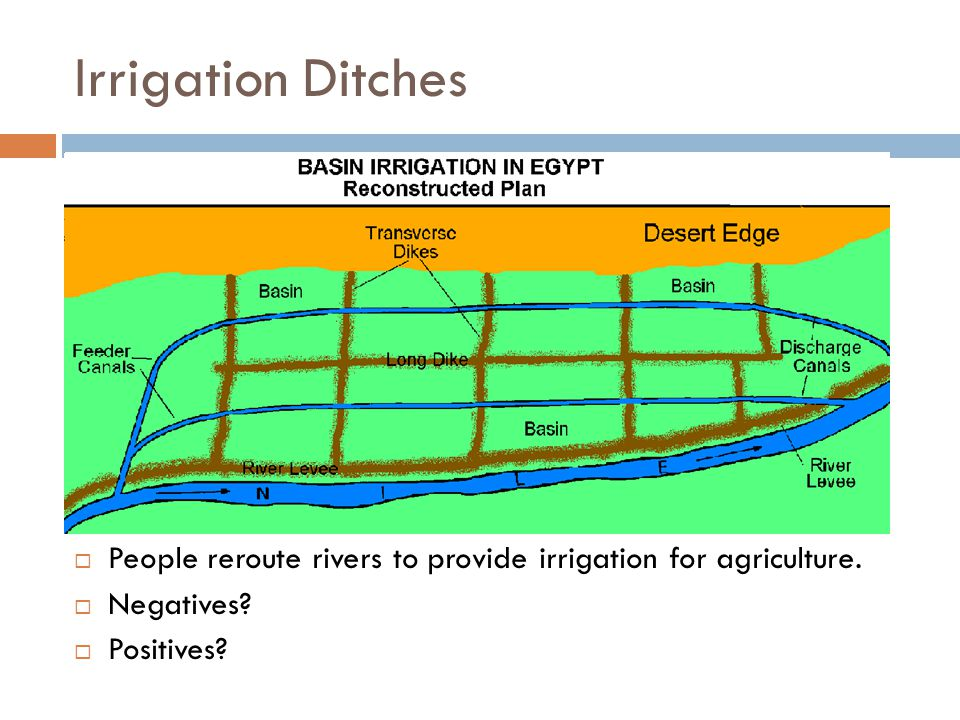 Irrigation Ditches  People reroute rivers to provide irrigation for agriculture.