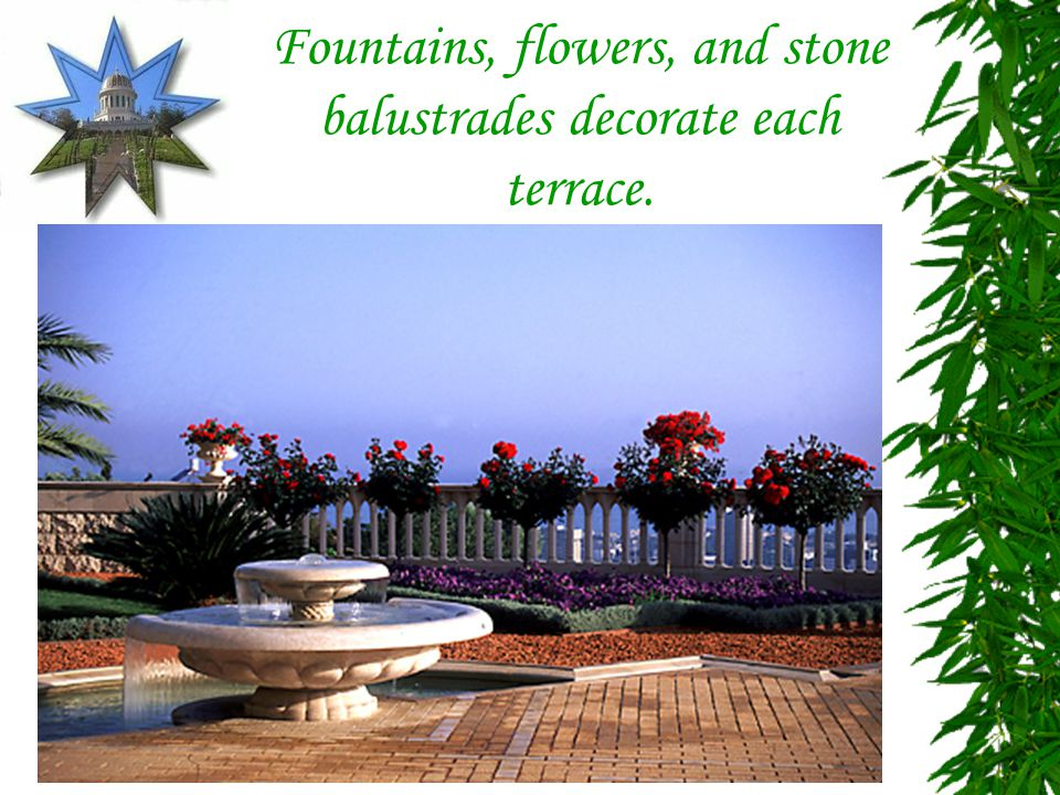 Fountains, flowers, and stone balustrades decorate each terrace.