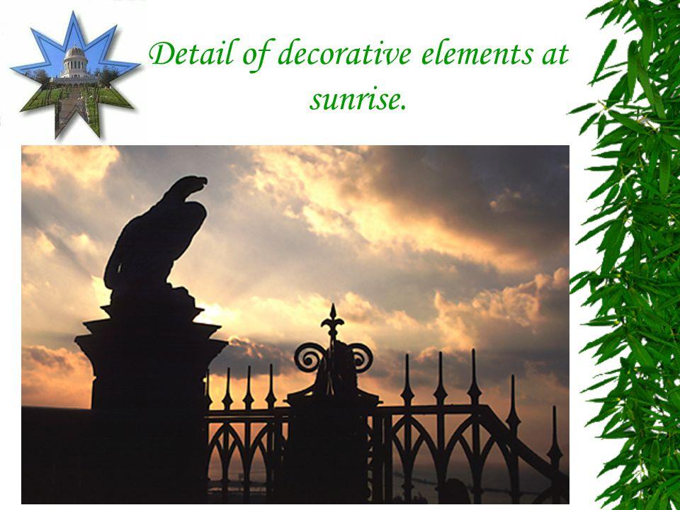 Detail of decorative elements at sunrise.