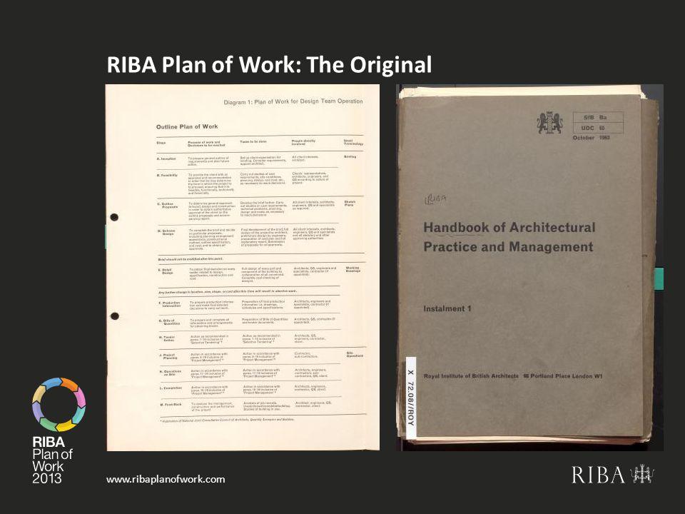 www.ribaplanofwork.com RIBA Plan of Work: The Original