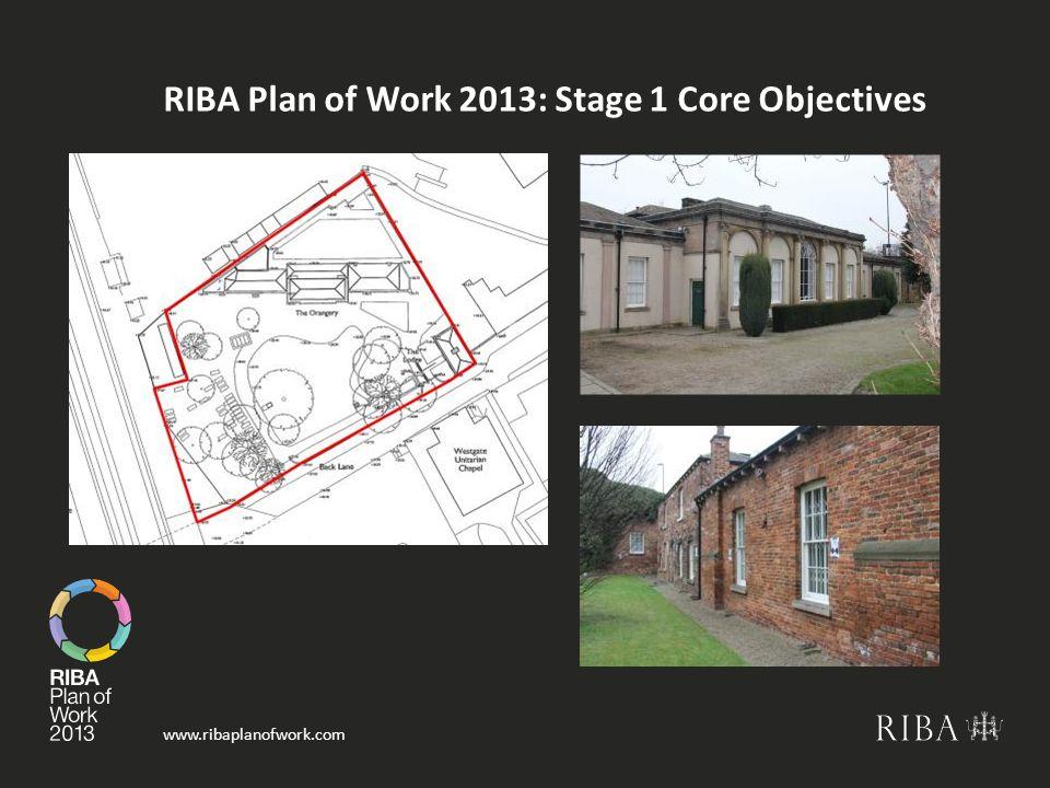 www.ribaplanofwork.com RIBA Plan of Work 2013: Stage 1 Core Objectives