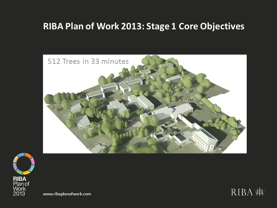 www.ribaplanofwork.com RIBA Plan of Work 2013: Stage 1 Core Objectives 512 Trees in 33 minutes