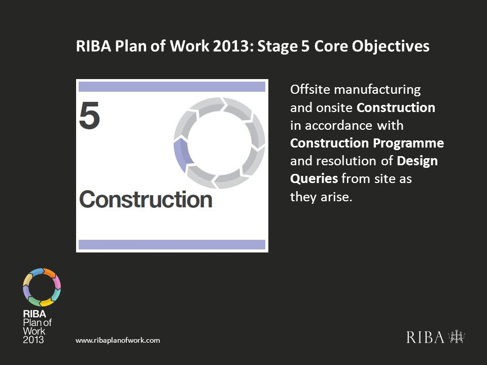 www.ribaplanofwork.com RIBA Plan of Work 2013: Stage 5 Core Objectives Offsite manufacturing and onsite Construction in accordance with Construction Programme and resolution of Design Queries from site as they arise.