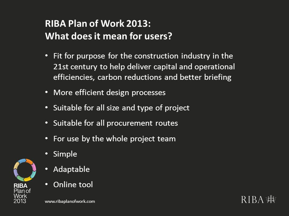 www.ribaplanofwork.com RIBA Plan of Work 2013: What does it mean for users.