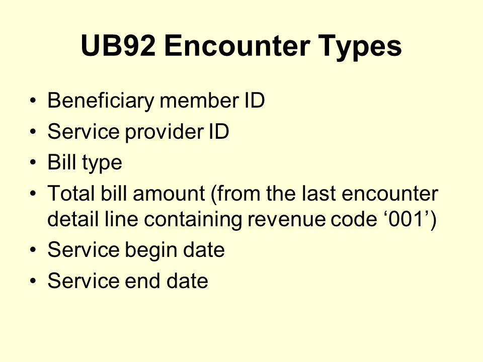 UB92 Encounter Types Beneficiary member ID Service provider ID Bill type Total bill amount (from the last encounter detail line containing revenue code '001') Service begin date Service end date