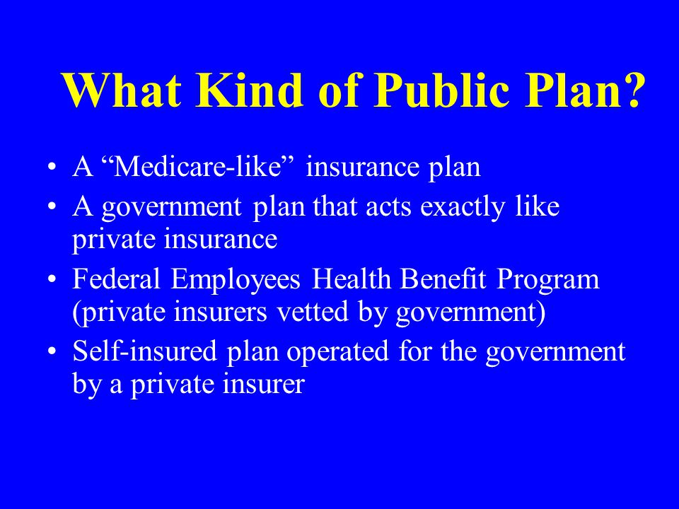 """What Kind of Public Plan? A """"Medicare-like"""" insurance plan A government plan that acts exactly like private insurance Federal Employees Health Benefit"""