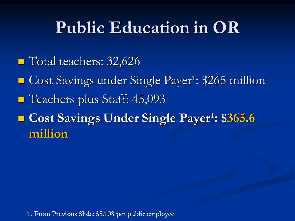 Public Education in OR Total teachers: 32,626 Total teachers: 32,626 Cost Savings under Single Payer¹: $265 million Cost Savings under Single Payer¹: