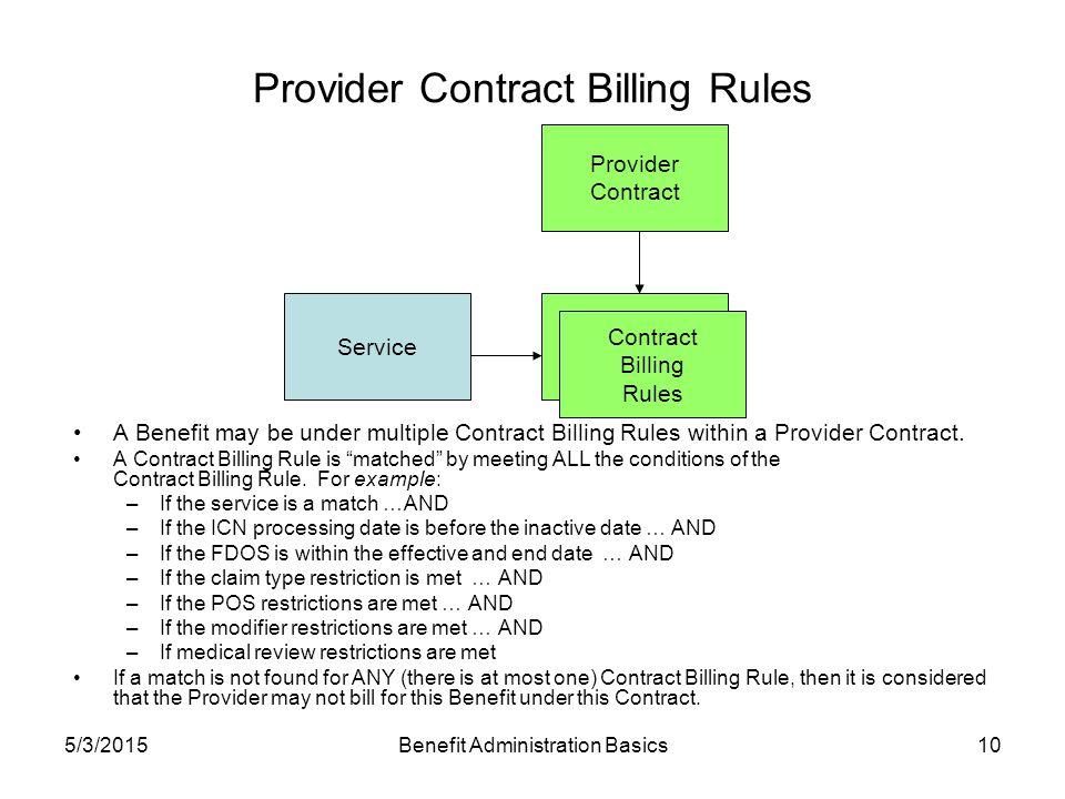 5/3/2015Benefit Administration Basics10 Provider Contract Billing Rules ServicePayer Contract Billing Rules A Benefit may be under multiple Contract Billing Rules within a Provider Contract.