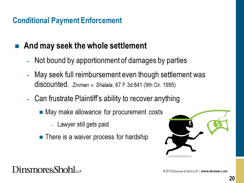 © 2010 Dinsmore & Shohl LLP | www.dinslaw.com 20 Conditional Payment Enforcement n And may seek the whole settlement – Not bound by apportionment of damages by parties – May seek full reimbursement even though settlement was discounted.
