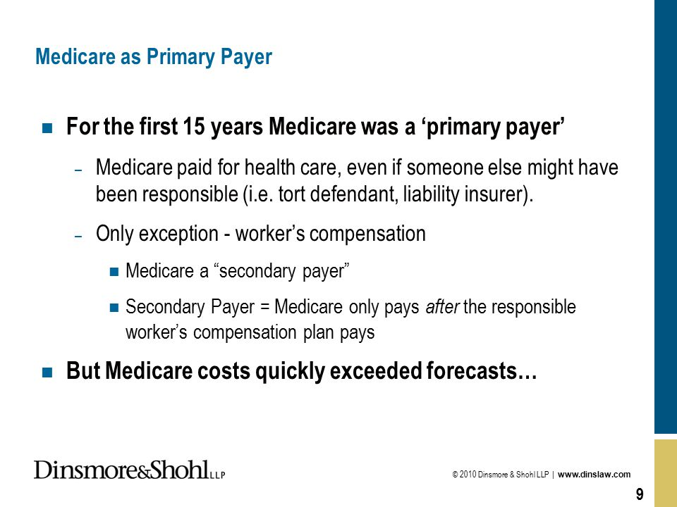 © 2010 Dinsmore & Shohl LLP | www.dinslaw.com 9 Medicare as Primary Payer n For the first 15 years Medicare was a 'primary payer' – Medicare paid for