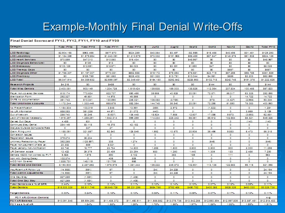 Example-Monthly Final Denial Write-Offs