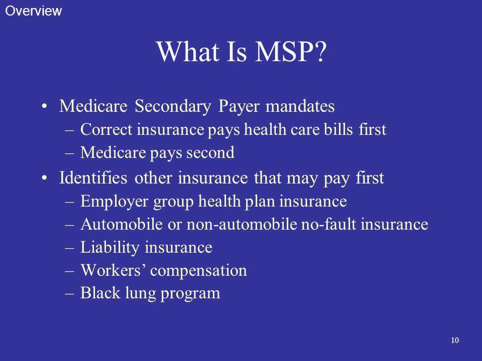 10 What Is MSP? Medicare Secondary Payer mandates –Correct insurance pays health care bills first –Medicare pays second Identifies other insurance tha