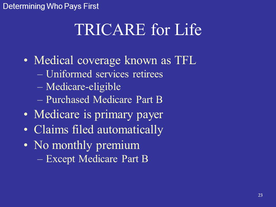 23 TRICARE for Life Medical coverage known as TFL –Uniformed services retirees –Medicare-eligible –Purchased Medicare Part B Medicare is primary payer