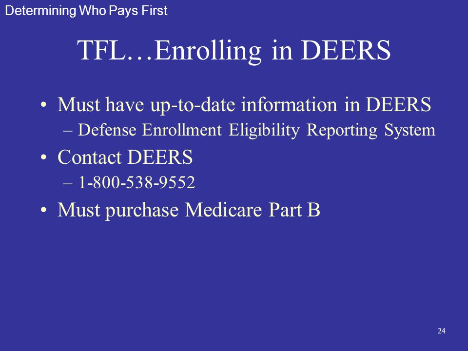 24 TFL…Enrolling in DEERS Must have up-to-date information in DEERS –Defense Enrollment Eligibility Reporting System Contact DEERS –1-800-538-9552 Mus