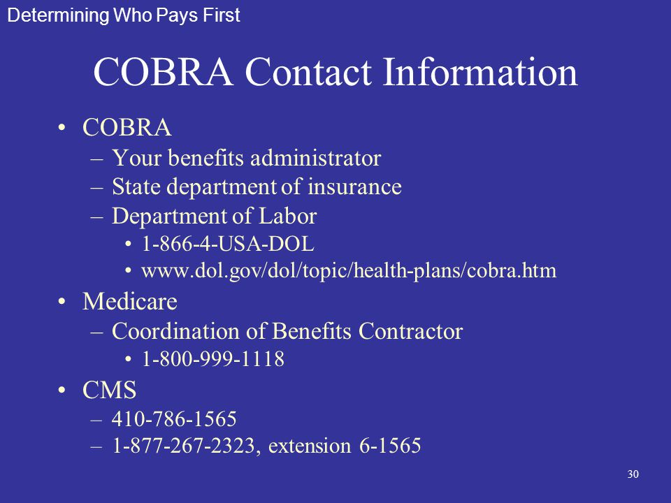 30 COBRA Contact Information COBRA –Your benefits administrator –State department of insurance –Department of Labor 1-866-4-USA-DOL www.dol.gov/dol/to