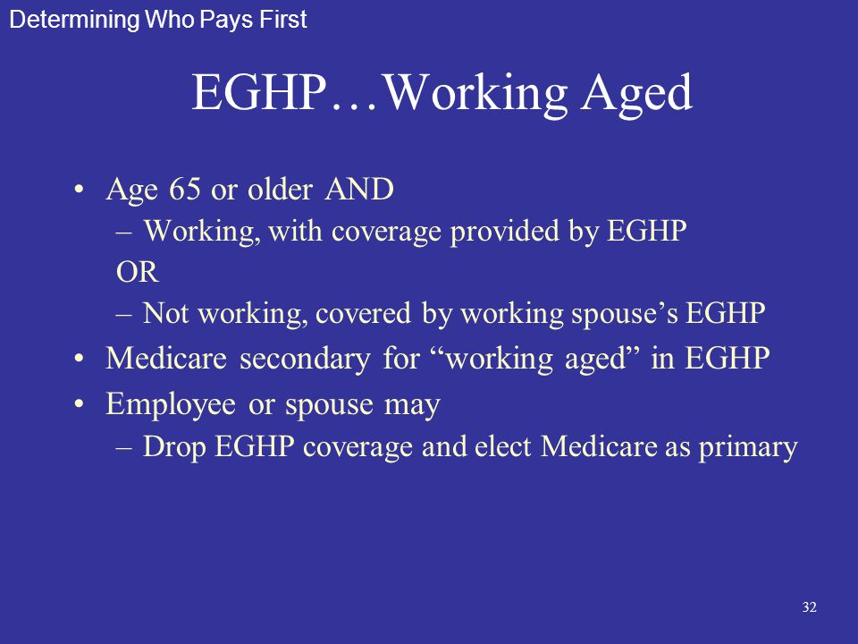 32 EGHP…Working Aged Age 65 or older AND –Working, with coverage provided by EGHP OR –Not working, covered by working spouse's EGHP Medicare secondary