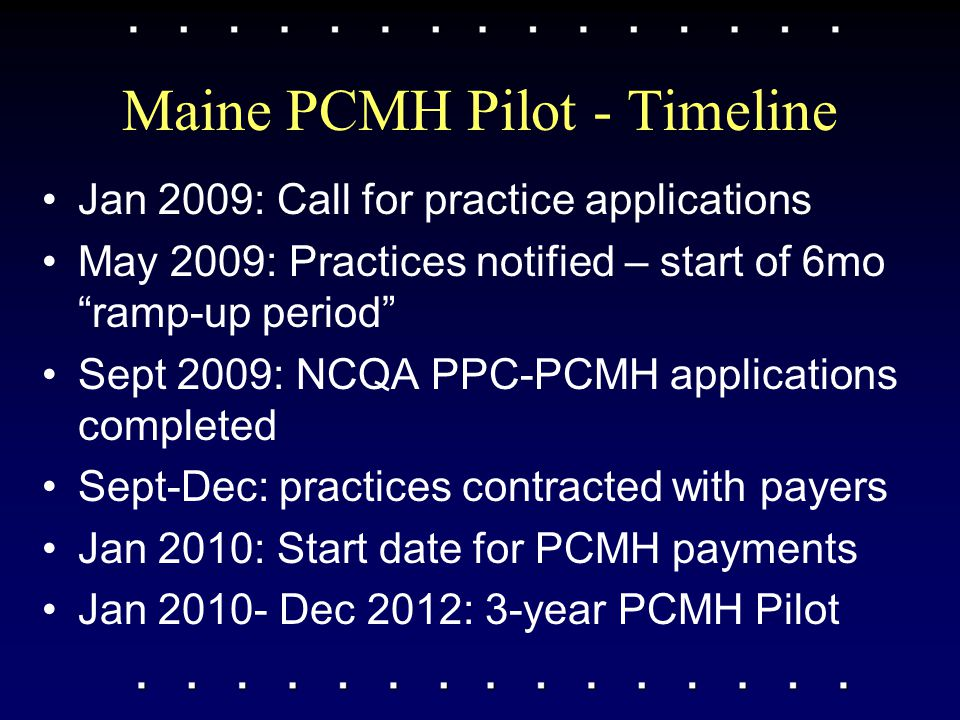 "Maine PCMH Pilot - Timeline Jan 2009: Call for practice applications May 2009: Practices notified – start of 6mo ""ramp-up period"" Sept 2009: NCQA PPC-"