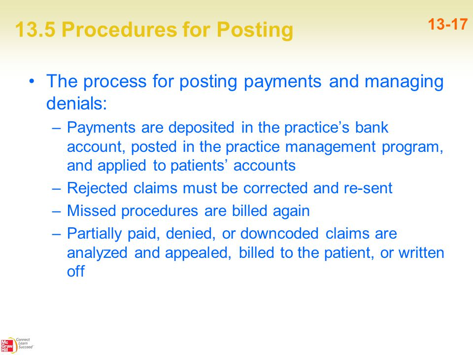 13.5 Procedures for Posting 13-17 The process for posting payments and managing denials: –Payments are deposited in the practice's bank account, posted in the practice management program, and applied to patients' accounts –Rejected claims must be corrected and re-sent –Missed procedures are billed again –Partially paid, denied, or downcoded claims are analyzed and appealed, billed to the patient, or written off