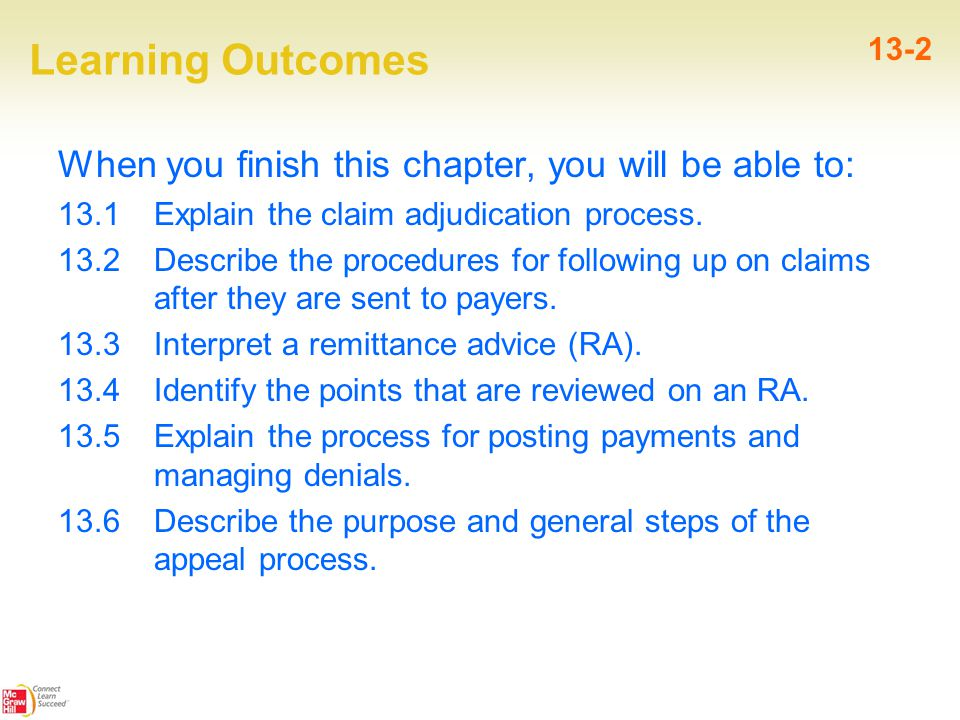Learning Outcomes When you finish this chapter, you will be able to: 13.1 Explain the claim adjudication process.