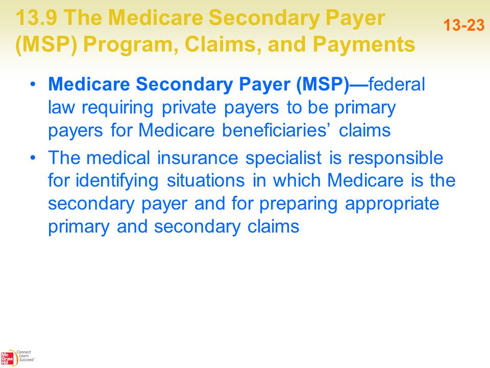 13.9 The Medicare Secondary Payer (MSP) Program, Claims, and Payments 13-23 Medicare Secondary Payer (MSP)—federal law requiring private payers to be primary payers for Medicare beneficiaries' claims The medical insurance specialist is responsible for identifying situations in which Medicare is the secondary payer and for preparing appropriate primary and secondary claims