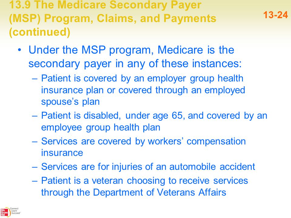 13.9 The Medicare Secondary Payer (MSP) Program, Claims, and Payments (continued) 13-24 Under the MSP program, Medicare is the secondary payer in any of these instances: –Patient is covered by an employer group health insurance plan or covered through an employed spouse's plan –Patient is disabled, under age 65, and covered by an employee group health plan –Services are covered by workers' compensation insurance –Services are for injuries of an automobile accident –Patient is a veteran choosing to receive services through the Department of Veterans Affairs