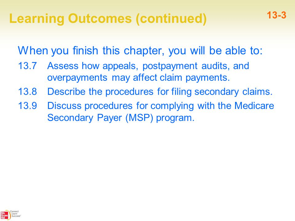 Learning Outcomes (continued) When you finish this chapter, you will be able to: 13.7 Assess how appeals, postpayment audits, and overpayments may affect claim payments.