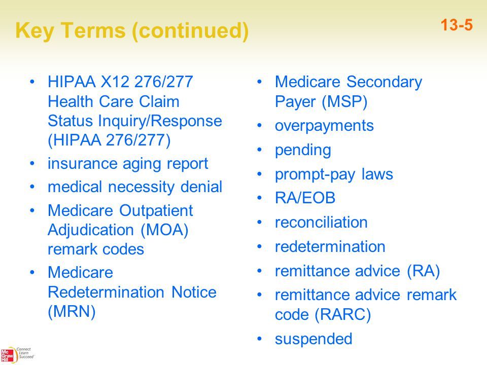Key Terms (continued) HIPAA X12 276/277 Health Care Claim Status Inquiry/Response (HIPAA 276/277) insurance aging report medical necessity denial Medi