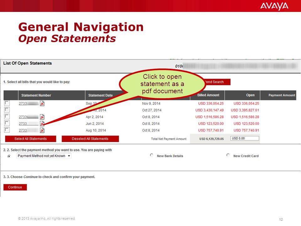 © 2013 Avaya Inc. All rights reserved. 12 General Navigation Open Statements Click to open statement as a pdf document
