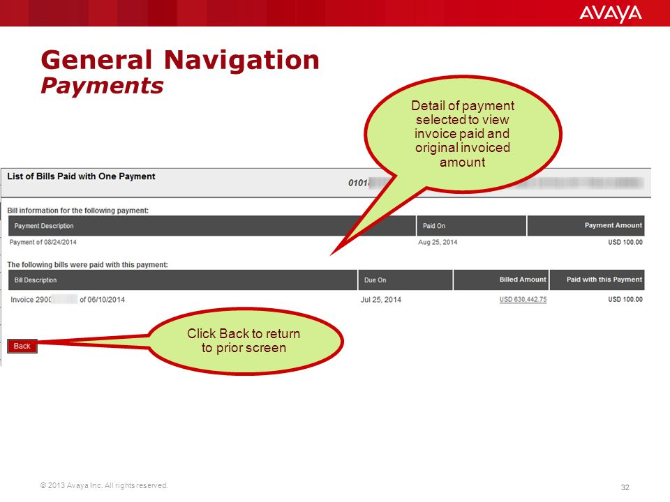 © 2013 Avaya Inc. All rights reserved. 32 General Navigation Payments Detail of payment selected to view invoice paid and original invoiced amount Cli